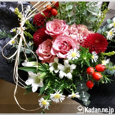 Florist's creation #72138 for Sympathy for Pet Owner by Kadan.ne.jp, the flower terminal of Japan.
